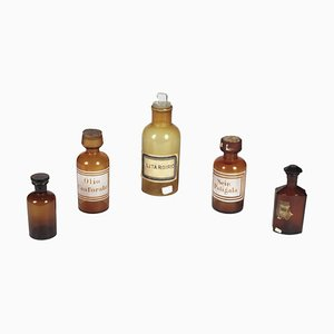 Amber Glass Pharmacy Bottles, 1870s, Set of 5