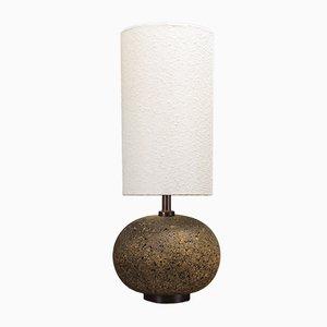 Lámpara de mesa danesa Mid-Century de teca y corcho, años 60