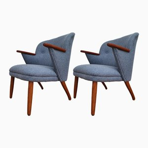 Danish Denim Blue Armchairs, 1960s, Set of 2