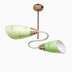 Vintage Deckenlampe aus Glas & Metall von Apolinary Gałecki für Stołeczne Zakłady Metalowe, 1960er