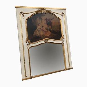 Mid-Century Spiegel mit weißem Holzrahmen, 1950er