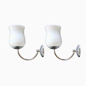 Lámparas de pared estilo Art Déco, años 70. Juego de 3
