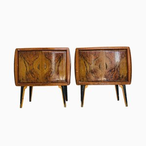Vintage Nightstands with Glass Tops, 1970s, Set of 2