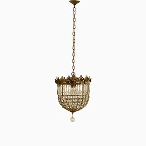 Lámpara de techo vintage con cuentas de cristal, años 60