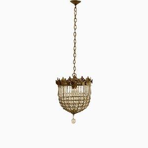 Vintage Deckenlampe mit Anhängern aus Kristallglas, 1960er