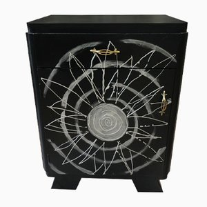 Art Deco Black Lacquer Nightstand, 1920s