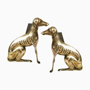 Antique English Brass Greyhound Dog Andirons, Set of 2