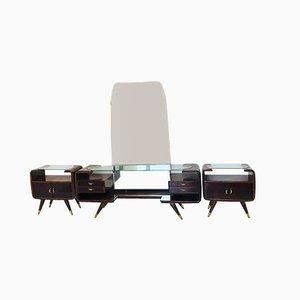 Toeletta in vetro con comodini, anni '50, set di 3