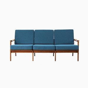 3-Sitzer Sofa mit Gestell aus Kirschholz, 1960er