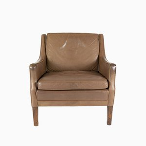 Vintage Tobacco Leather and Teak Armchair by Georg Thams, 1960s