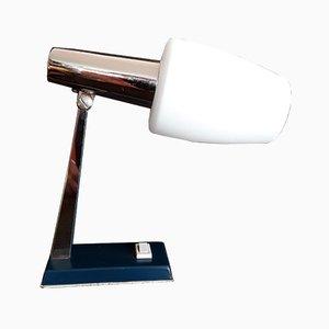 Lámpara de mesa alemana pequeña de metal cromado y vidrio, años 60