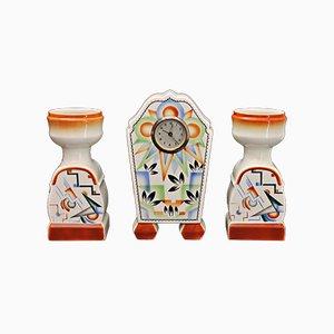 Art Déco Set aus Uhr & passenden Vasen, 1920er