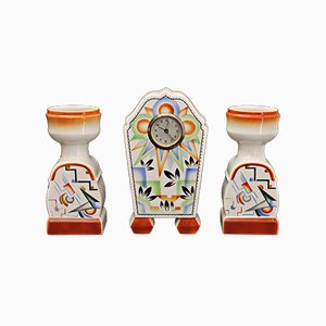 Art Deco Set with Clock & Matching Vases, 1920s