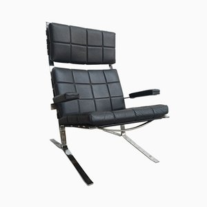 Vintage French Chrome and Black Leather Armchair by Pascal Mourgue for Airborne, 1960s