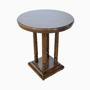 Round Art Deco French Beech Side Table, 1920s