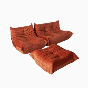 Vintage Orange Velvet Togo Living Room Set by Michel Ducaroy for Ligne Roset, 1980s