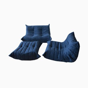 Vintage Navy Blue Microfiber Togo Living Room Set by Michel Ducaroy for Ligne Roset, 1980s