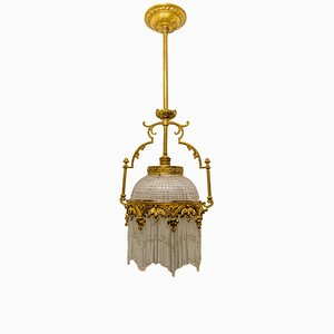 Art Nouveau Bronze and Glass Chandelier, 1930s