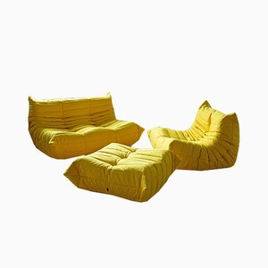 Vintage Yellow Microfiber Togo Living Room Set by Michel Ducaroy for Ligne Roset, 1970s