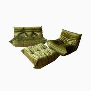 Vintage Olive Green Velvet Togo Living Room Set by Michel Ducaroy for Ligne Roset, 1980s