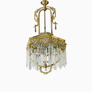 Art Deco Bronze, Brass and Glass Rod Ceiling Lamp, 1930s