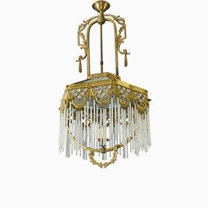 Art Déco Deckenlampe aus Bronze, Messing & Glas, 1930er