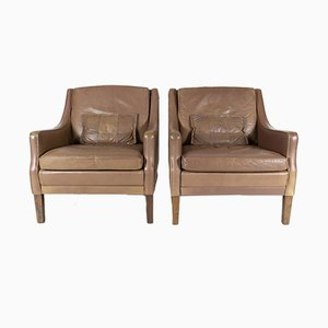 Tobacco Leather & Teak Lounge Chairs by Georg Thams, 1960s, Set of 2