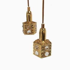 Lámparas colgantes danesas pequeñas, años 70. Juego de 2