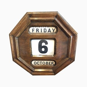 Antique Hexagonal Wall Mounted Perpetual Calendar