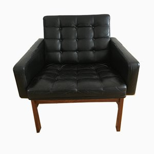 Rosewood & Black Leather Moduline Lounge Chair by O. Gjerløv-Knudsen & T. Lind for France & Son/France & Daverkosen, 1960s
