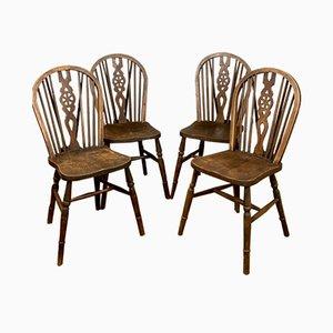 Sedie antiche con schienale intagliato, set di 4