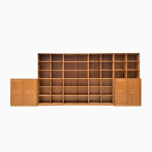 Libreria modulare in olmo di Mogens Koch per Rud. Rasmussen, anni '50