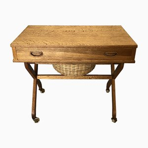 Mid-Century Danish Oak Sewing Table, 1950s