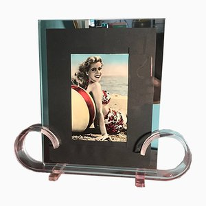 French Lucite & Glass Photo Frame, 1930s