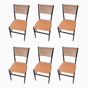 Chaises de Salle à Manger en Bois Foncé et Tissu Beige par Gio Ponti pour Cassina, 1950s, Set de 6