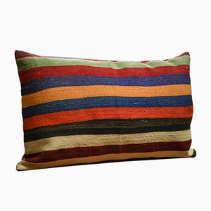 Colorful Striped Wool Outdoor Kilim Pillow Cover by Zencef