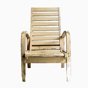 White Wooden Garden Armchair, 1930s