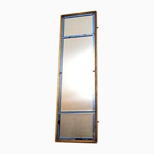 Espejo italiano antiguo de madera dorada y vidrio coloreado