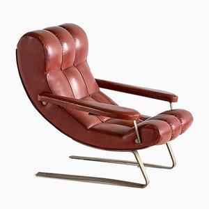 Italienischer Vintage Sessel aus braunem Kunstleder von Guido Bonzani, 1970er