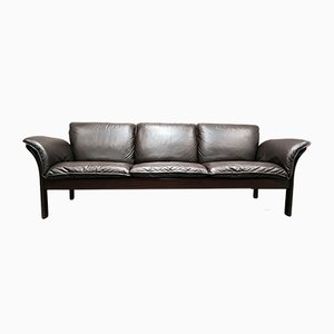 Scandinavian Leather 3-Seater Sofa, 1970s