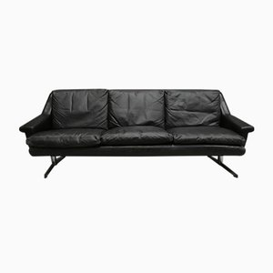 Black Leather & Chrome 3-Seater Sofa, 1950s