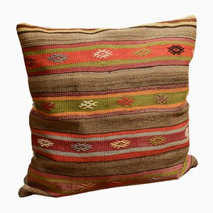 Colorful Hand Embroidered Wool Outdoor Kilim Pillow Cover by Zencef