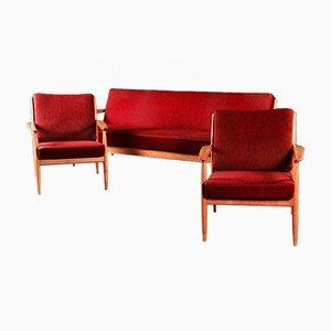 Juego de sofá y dos butacas de Casala, años 50