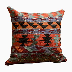 Colorful Wool Outdoor Kilim Pillow Cover by Zencef