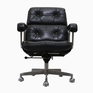 Black Leather Office Chair from Drabert, 1970s