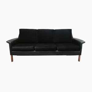 Scandinavian Rosewood, Black Velvet, and Leather 3-Seater Sofa, 1950s