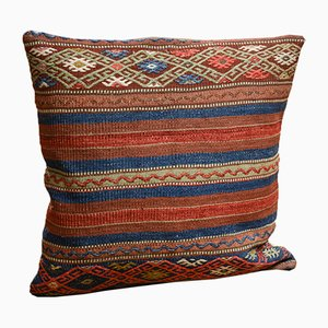 Striped Wool Outdoor Kilim Pillow Cover by Zencef