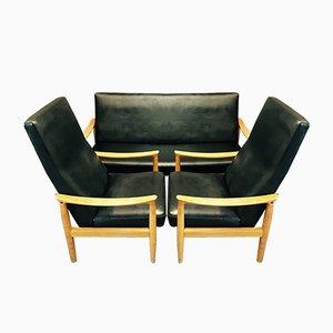 Juego de sofá escandinavo y dos butacas de Fritz Hansen, años 50