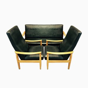 Set aus Sofa & 2 Sesseln im skandinavischen Stil von Fritz Hansen, 1950er