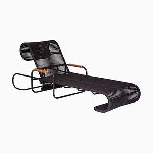 Chaise longue Elo de madera y metal con reposabrazos de cuerda de Filipe Ramos para Filipe Ramos Design